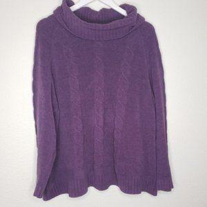 Denim&Co Purple Cowl Neck Chenille Sweater